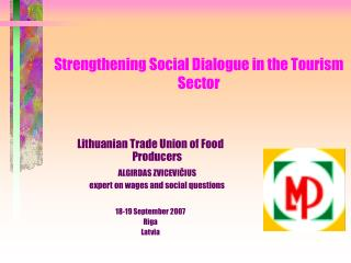Strengthening Social Dialogue in the Tourism Sector