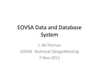 EOVSA Data and Database System