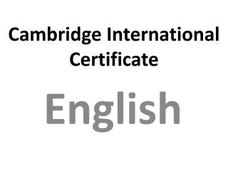 Cambridge International Certificate