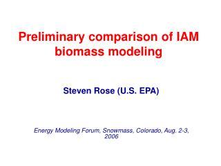 Preliminary comparison of IAM biomass modeling