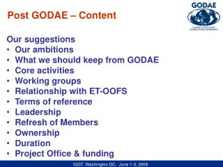 Our suggestions Our ambitions   What we should keep from GODAE Core activities  Working groups
