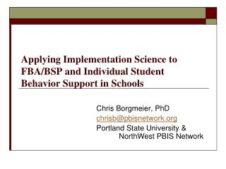 Applying Implementation Science to FBA