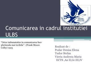 Comunicarea in cadrul institutiei ULBS