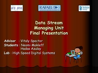 Data Stream  Managing Unit Final Presentation