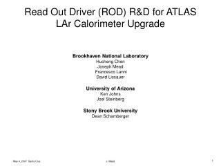 ROD R&D outline
