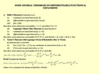 SOME GENERAL TEHOREMS ON DIFFERENTIABLE FUNCTIONS & EXPANSIONS