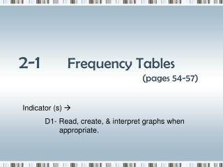 2-1 Frequency Tables