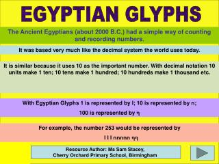 The Ancient Egyptians (about 2000 B.C.) had a simple way of counting and recording numbers .