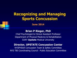 Recognizing and Managing Sports Concussion