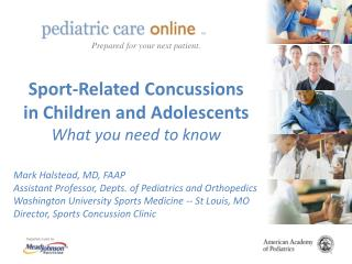 Sport-Related Concussions in Children and Adolescents What you need to know