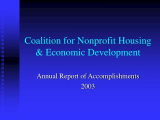 Coalition for Nonprofit Housing & Economic Development