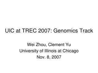 UIC at TREC 2007: Genomics Track