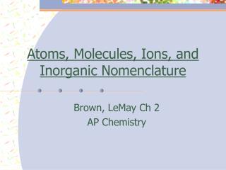 Atoms, Molecules, Ions, and Inorganic Nomenclature