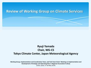 Review of Working Group on Climate Services