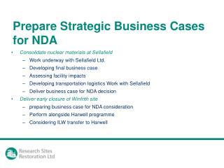 Prepare Strategic Business Cases for NDA