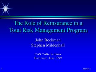 The Role of Reinsurance in a Total Risk Management Program