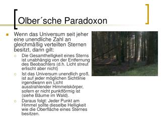 Olber´sche Paradoxon