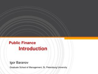 Public Finance Introduction