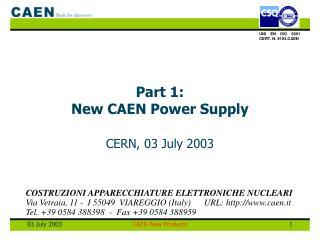 Part 1:  New CAEN Power Supply