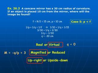 Ex. 26.2   A concave mirror has a 30 cm radius of curvature.