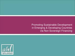 Promoting Sustainable Development in Emerging  Developing Countries  via Non Sovereign Financing