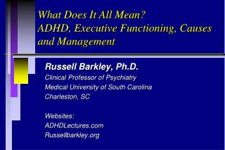 What Does It All Mean? ADHD, Executive Functioning, Causes and Management