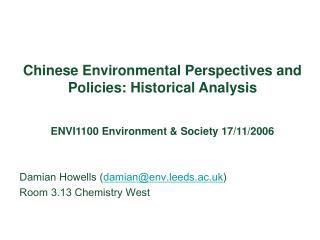Chinese Environmental Perspectives and Policies: Historical Analysis
