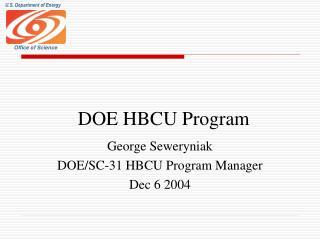 DOE HBCU Program