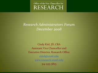 Research Administrators Forum December 2008
