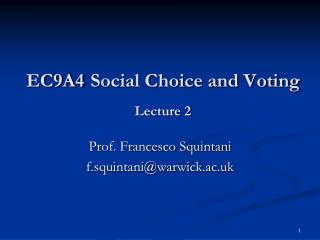 EC9A4 Social Choice and Voting Lecture 2