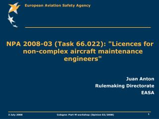"NPA 2008-03 (Task 66.022): ""Licences for non-complex aircraft maintenance engineers"" Juan Anton"