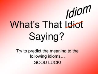 What�s That Idiot Saying?