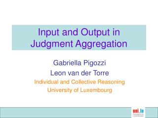 Input and Output in Judgment Aggregation