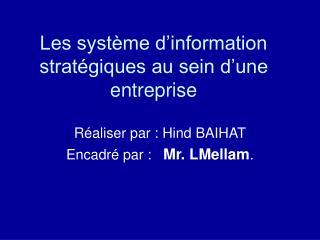 Les système d'information stratégiques au sein d'une entreprise