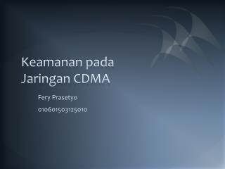 Keamanan pada Jaringan  CDMA