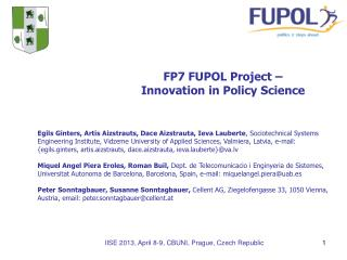 FP7 FUPOL Project – Innovation in Policy Science