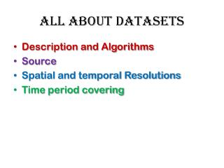 All about DATASETS