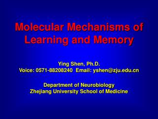 Molecular Mechanisms of Learning and Memory Ying Shen, Ph.D.