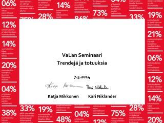VaLan  Seminaari Trendejä ja totuuksia 7.5.2014 Katja  Mikkonen           Kari Niklander