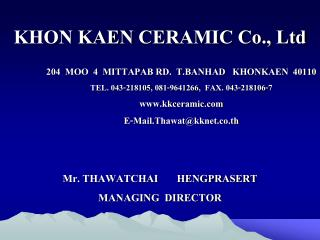 KHON KAEN CERAMIC Co., Ltd