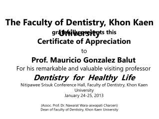 Certificate of Appreciation to