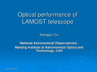 Optical performance of LAMOST telescope