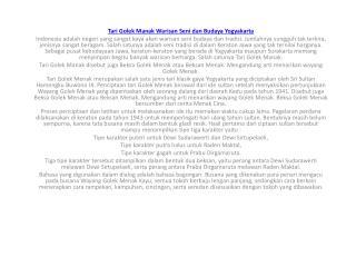 Tari Golek Manak Warisan Seni dan Budaya  Yogyakarta