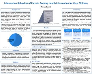 Information Behaviors of Parents Seeking Health Information for their Children
