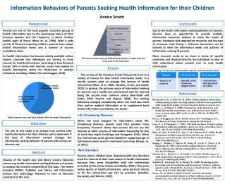 Information Behaviors of Parents Seeking Health Information for their Children