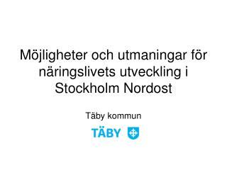 M�jligheter och utmaningar f�r n�ringslivets utveckling i Stockholm Nordost