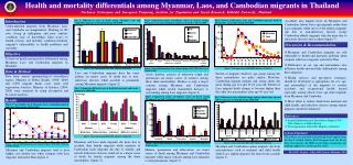 Health and mortality differentials among Myanmar, Laos, and Cambodian migrants in Thailand Nucharee  Srivirojana  and  S