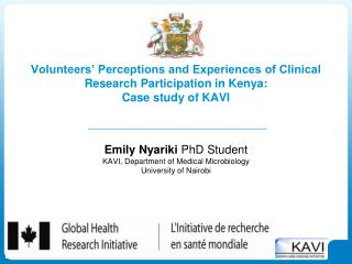 Emily Nyariki  PhD Student KAVI, Department of Medical Microbiology University of Nairobi