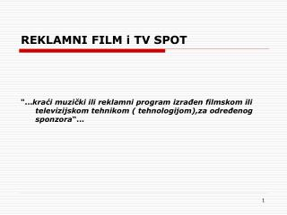 REKLAMNI FILM i TV SPOT