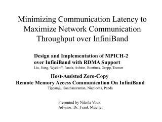 Minimizing Communication Latency to Maximize Network Communication Throughput over InfiniBand